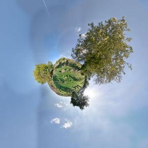 Little Planet Darstellung des Judenfriedhofs in Pfaffenhausen.